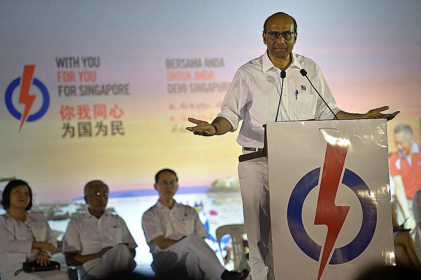 Deputy Prime Minister Tharman Shanmugaratnam, who is also Finance Minister, speaking last night at the PAP rally in Petir Road. He is leading a five-man team to contest in Jurong GRC.