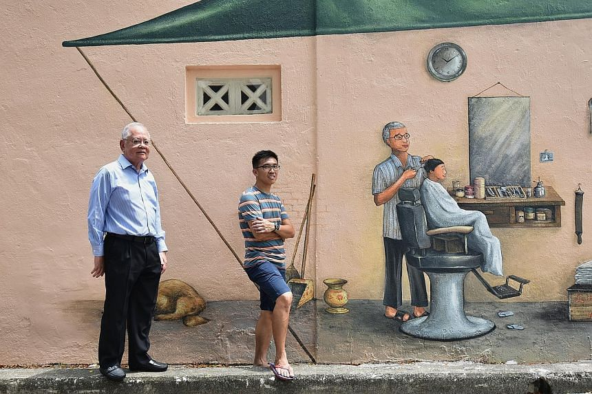 """Dr Victor Choa (above, left) allowed his property's walls to be used as a canvas for Mr Yip Yew Chong (above, right) to paint the murals, such as of a barbershop scene and a Milkmaid can """"hanging"""" from a pipe (left). Careers manager Angeline Sim (abo"""