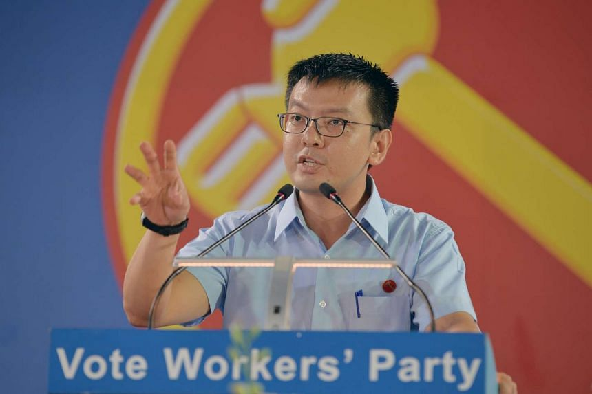Daniel Goh of the Workers' Party gives his speech at the WP rally for Nee Soon GRC at Yishun Stadium on Sept 5, 2015.