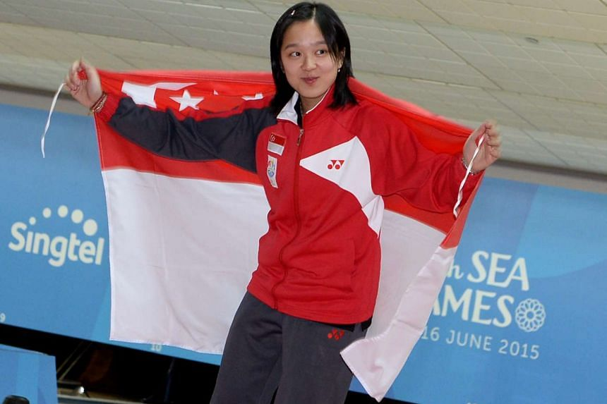 Jazreel Tan during the victory ceremony at the 28th SEA Games in this June 14, 2015 file photo.