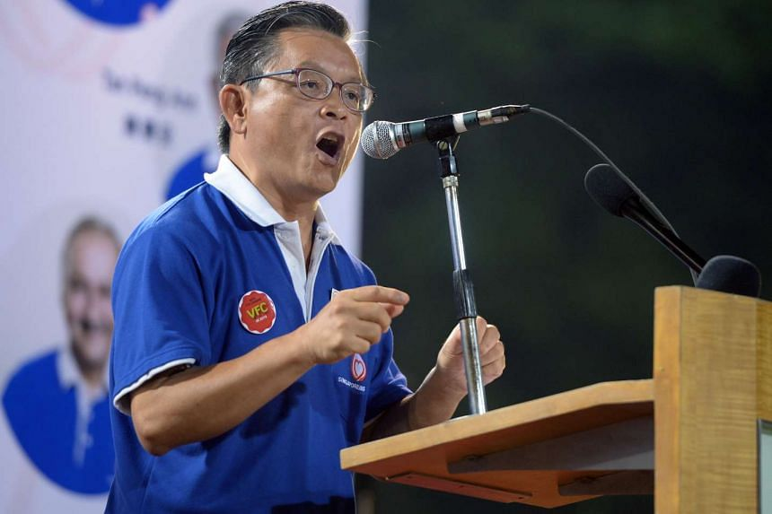 SingFirst's Tan Jee Say delivering his address at SingFirst rally at Queenstown Stadium, on Sept 5, 2015.