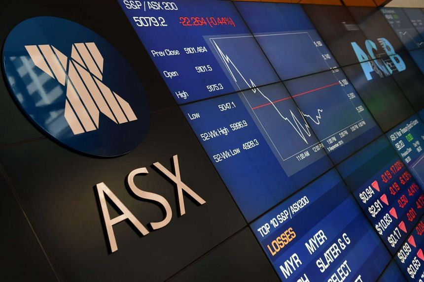Information boards display All Ords and Myer losses at the Australian Stock Exchange (ASX) in Sydney, Australia on Sept 3, 2015.