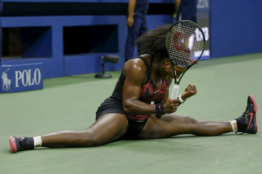 Serena Williams of the U.S. celebrates a point against compatriot Bethanie Mattek-Sands in their third round match at the U.S. Open Championships tennis tournament in New York on Sept 4, 2015.