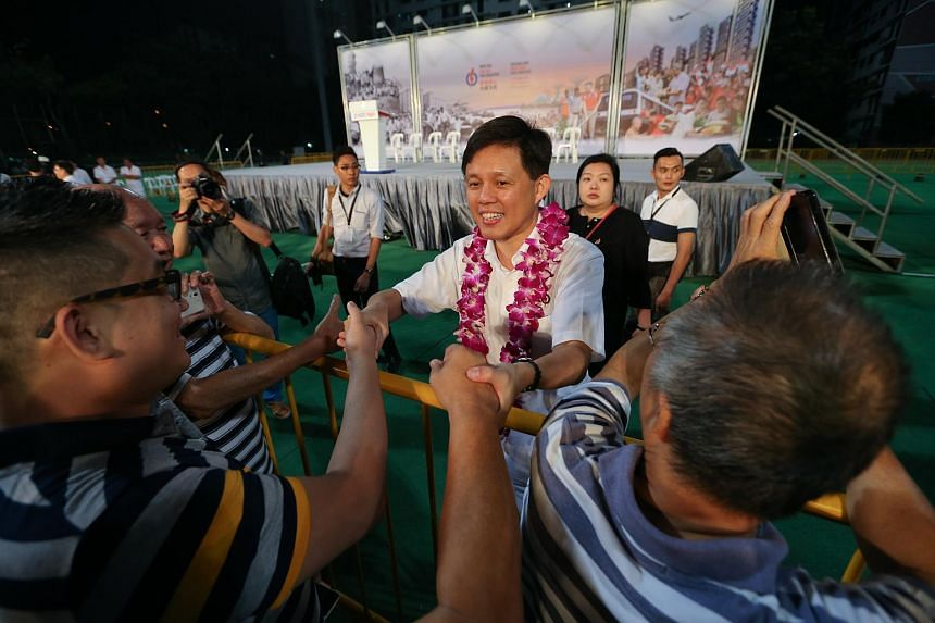 Chan Chun Sing shaking hands with supporters after the rally on Sept 2, 2015.