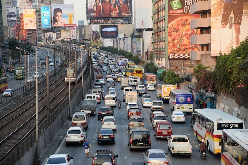 Rush-hour traffic crawls in Metro Manila's main Edsa highway.