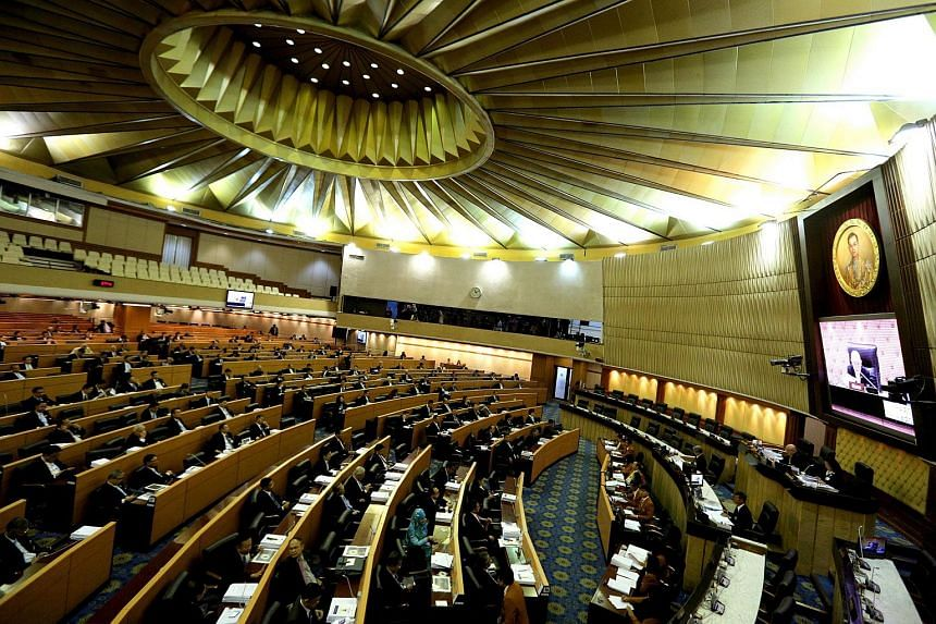 A general view of the Thai Parliament as members of the National Reform Council (NRC) voting on the new draft constitution at Parliament House in Bangkok, Thailand on Sept 6, 2015.