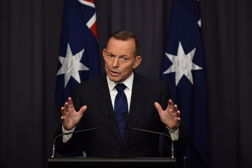 Australian Prime Minister Tony Abbott speaking to the media during a press conference at Parliament House in Canberra on Sept 6, 2015.