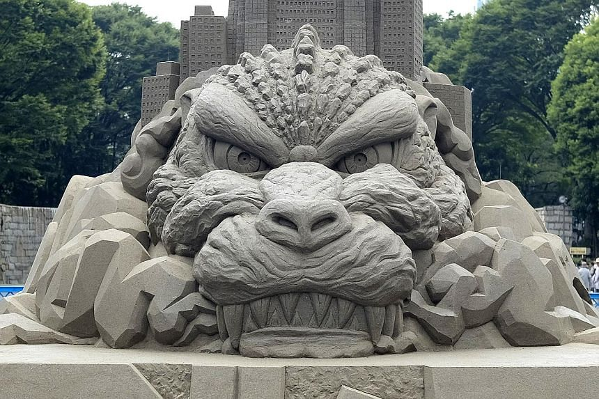 The fearsome Godzilla taking pride of place at Tokyo's Shinjuku Chuo Park. To be exact, it's a sand sculpture of the head of the iconic Japanese movie monster, recently named the tourism ambassador of Shinjuku Ward, one of the capital's busiest comme