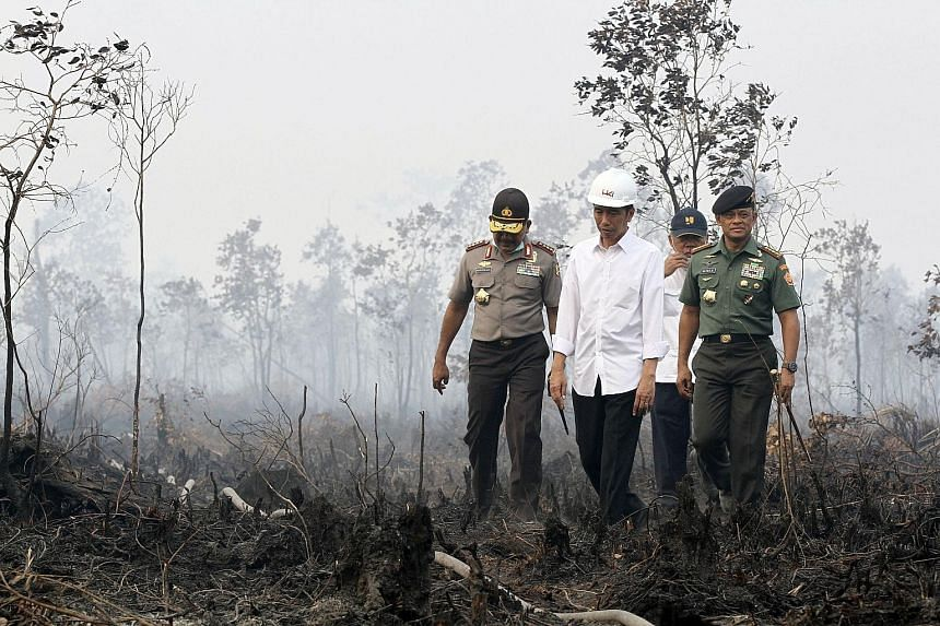 Mr Joko Widodo (second from left) is accompanied by police chief Badrodin Haiti (left) and military chief Gatot Nurmantyo (right) on a visit to an area in the South Sumatra district of Ogan Komering Ilir yesterday where there has been land burning.