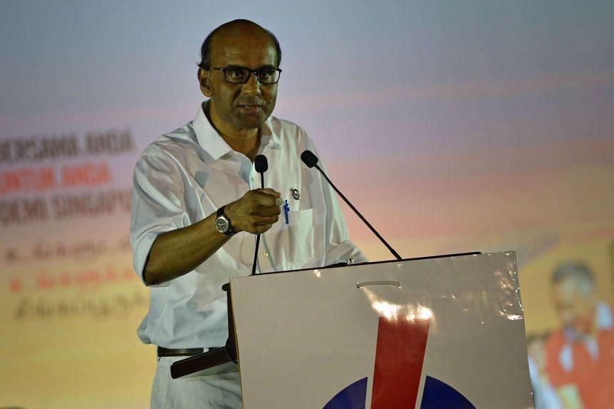 Deputy Prime Minister Tharman Shanmugaratnam speaking during a PAP rally at Petir Road on Sept 5.