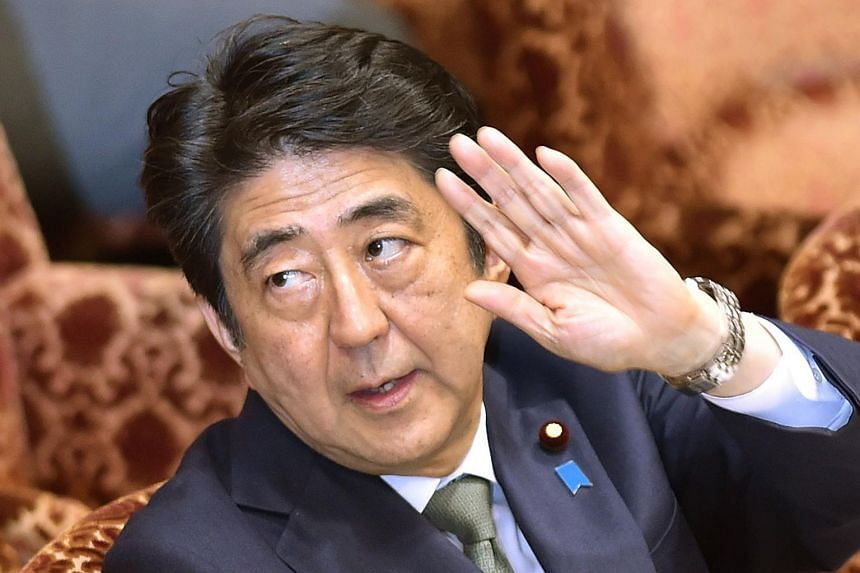 Japan's Prime Minister Shinzo Abe at a special committee session in the upper house of parliament in Tokyo on Aug 21, 2015.