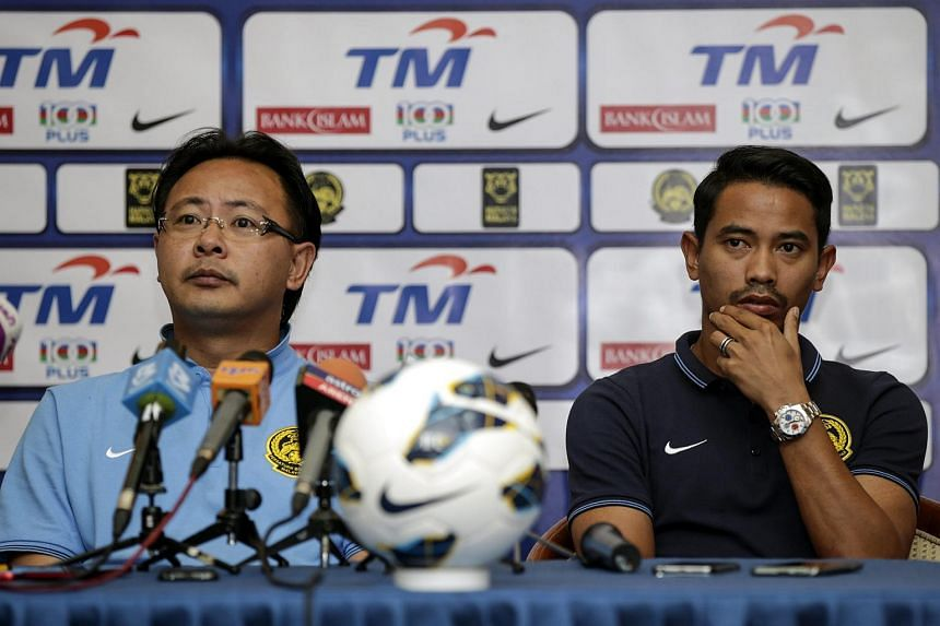 Malaysia's head coach Ong Kim Swee (left) and player Safiq Rahim at a press conference on Sept 7, ahead of the Fifa 2018 World Cup qualifying match against Saudi Arabia.