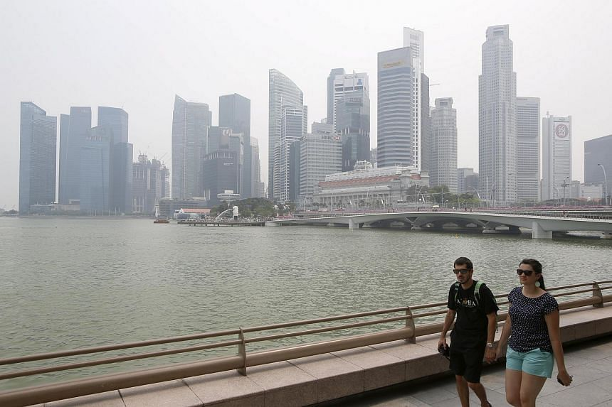 The Central Business District in Singapore shrouded by haze on Sept 7, 2015.