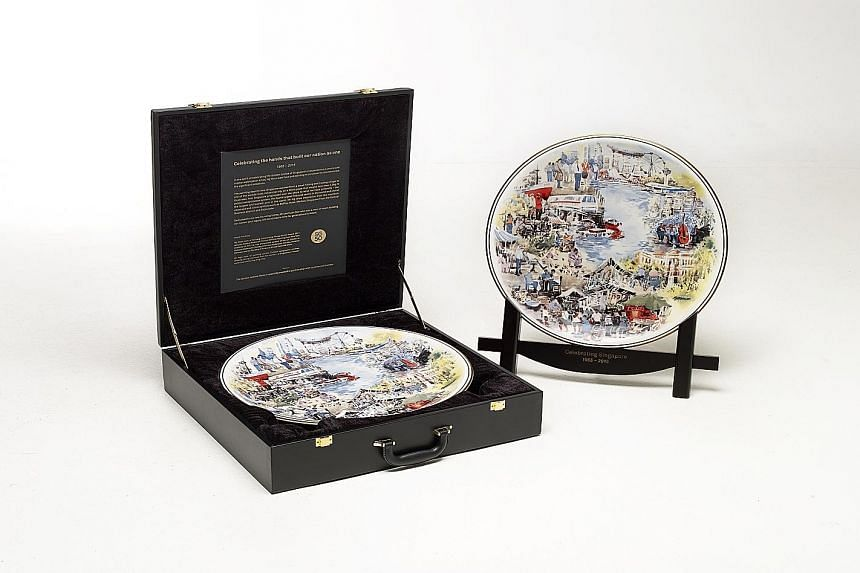 The plate, with artwork by watercolour artist Ng Woon Lam, features familiar Singapore buildings such as Raffles Hotel and Esplanade - Theatres on the Bay.