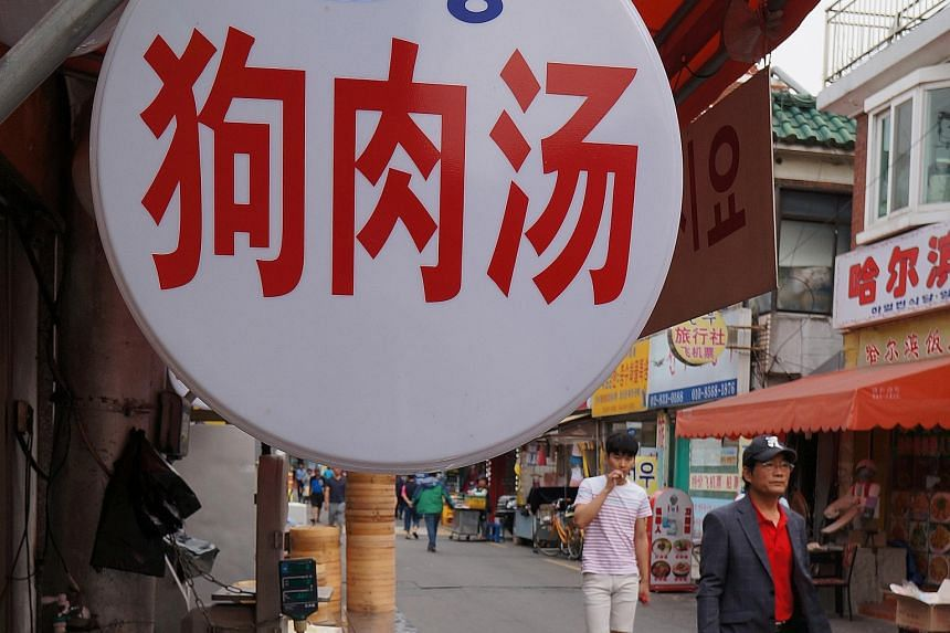 Eateries selling dog meat can also be found here.