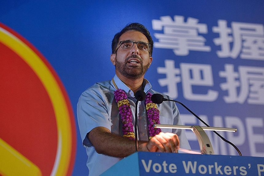WP candidate Pritam Singh, who is contesting Aljunied GRC, cited the Human Biomedical Research Bill passed in Parliament last month to illustrate the importance of having diverse representation. The crowd at the Workers' Party rally in Ubi Avenue 1 l