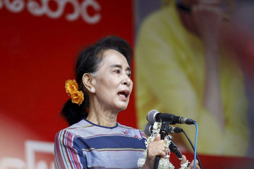 Myanmar's pro-democracy leader Aung San Suu Kyi gives a speech on voter education on Sept 6, 2015.