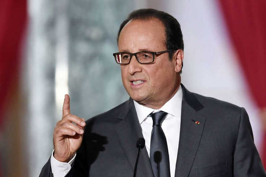 French President Francois Hollande delivering a speech on Sept 7 at the Elysee presidential palace in Paris.