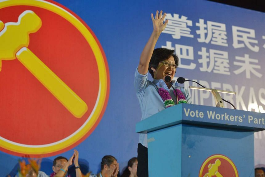 Workers' Party chairman Sylvia Lim waving to the crowd during a rally on Sept 7.