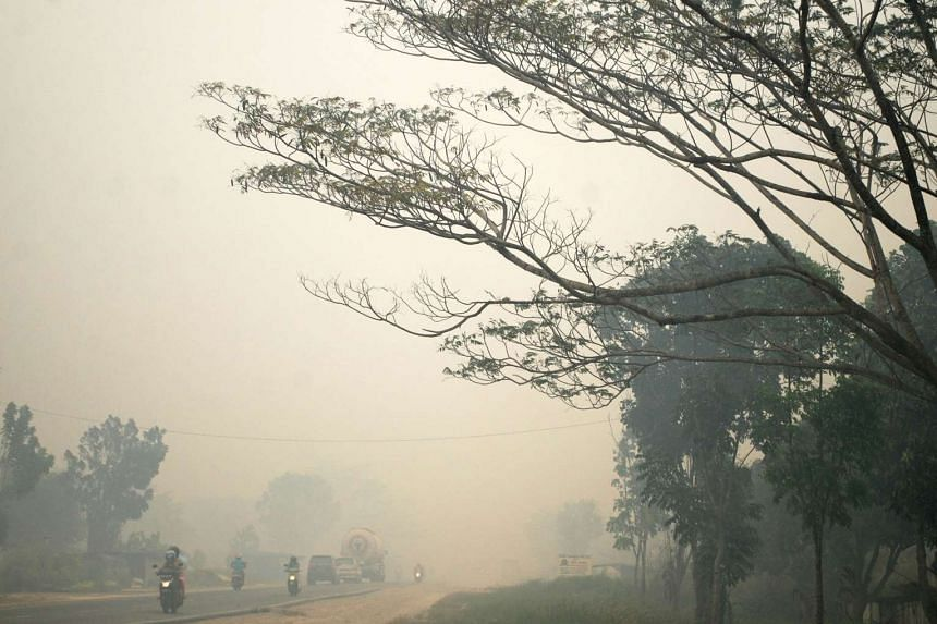 Kampar in Riau province on Indonesia's Sumatra island shrouded by haze from forest and land fires on Sept 4, 2015.