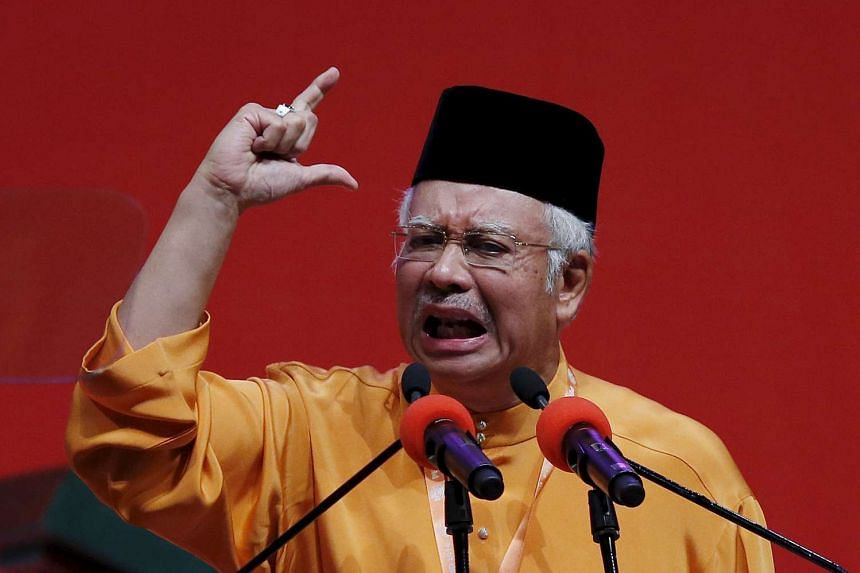 Malaysian Prime Minister Najib Razak speaking at the UMNO annual assembly in 2014.