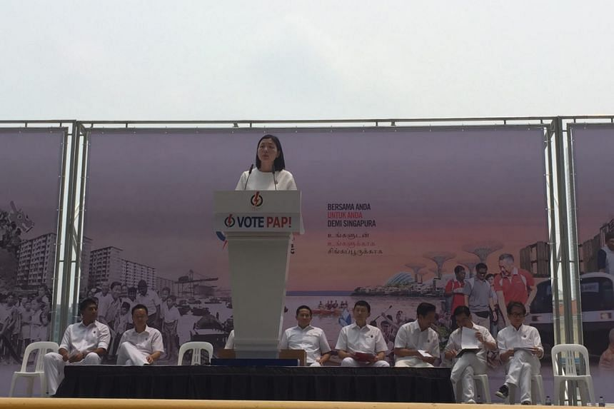 Ms Cheryl Chan, who is contesting Fengshan SMC, at the lunchtime rally at UOB Plaza promenade on Sept 8, 2015.