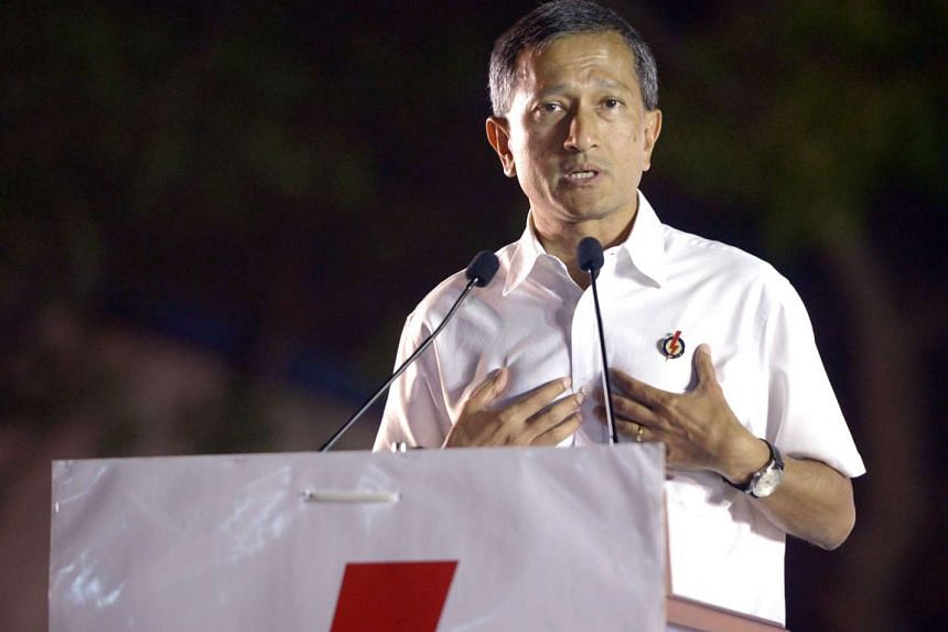 Mr Vivian Balakrishnan speaking at the PAP rally at a field along Commonwealth Avenue on Sept 7, 2015.