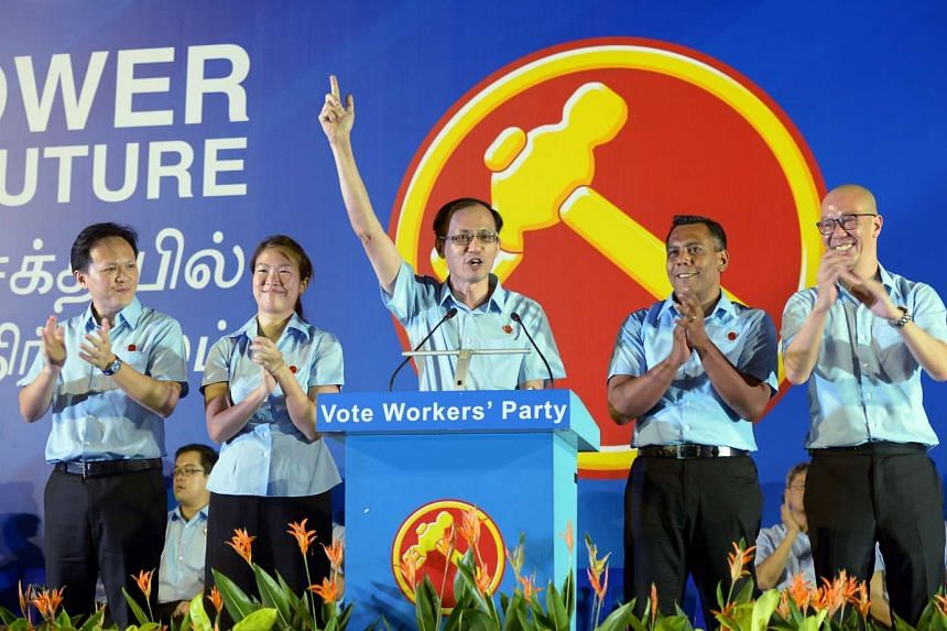 Workers' Party's Marine Parade GRC team (from left) Dylan Ng, He Ting Ru, Yee Jenn Jong, Firuz Khan and Terence Tan.