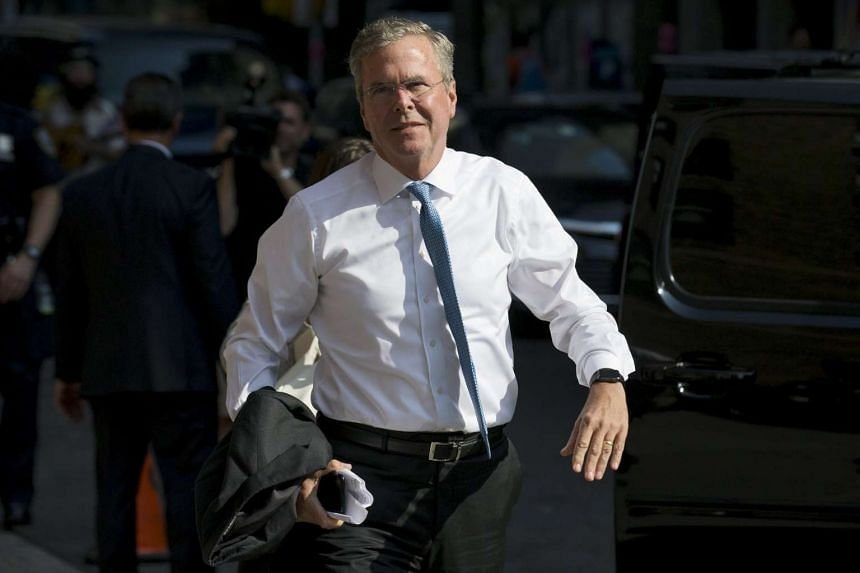 Republican presidential candidate Jeb Bush arriving for an appearance on The Late Show With Stephen Colbert at the Ed Sullivan Theater in Manhattan, New York, on Sept 8, 2015.
