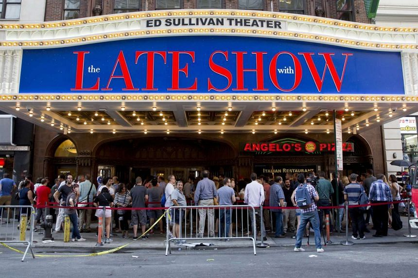 People line up for The Late Show With Stephen Colbert at the Ed Sullivan Theater in Manhattan, New York, on Sept 8, 2015.