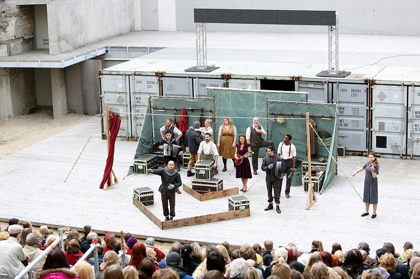 The cast of Hamlet by Shakespeare's Globe perform at the Tallinn City Theatre in Estonia, in May 2014.