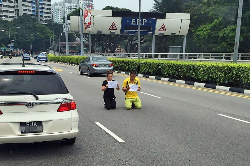 The couple who knelt in the middle of Bendemeer Road were each sentenced to five weeks' jail.