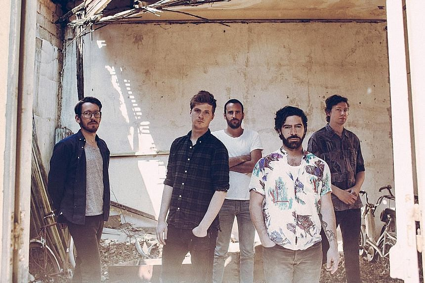 Foals comprise (above from left) Edwin Congreave, Jack Bevan, Jimmy Smith, Yannis Philippakis and Walter Gervers.