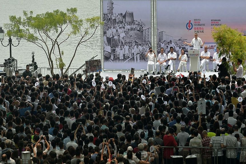 PM LEE HSIEN LOONG, at yesterday's lunchtime rally at the Promenade area beside UOB Plaza