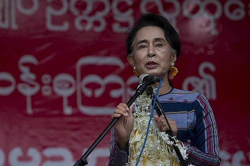 NLD chief Aung San Suu Kyi speaking during a voter education campaign in Myanmar's Shan state on Sunday. Her party is expected to win big in the Nov 8 polls, the country's first free general election since the end of military rule.