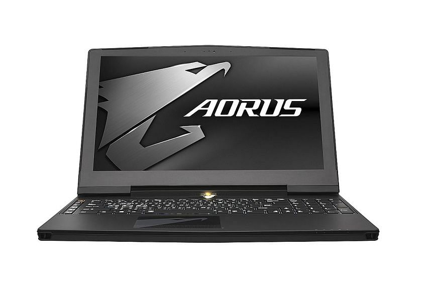 Gamers will like the keyboard on the Aorus X5. It has an extra row of keys on the left that can be assigned to user-created macros.