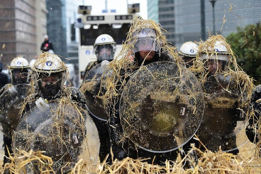 Thousands of angry European farmers pelted the police with eggs and hay in Brussels as they demanded emergency EU funds to help them cope with plunging food prices and soaring costs.