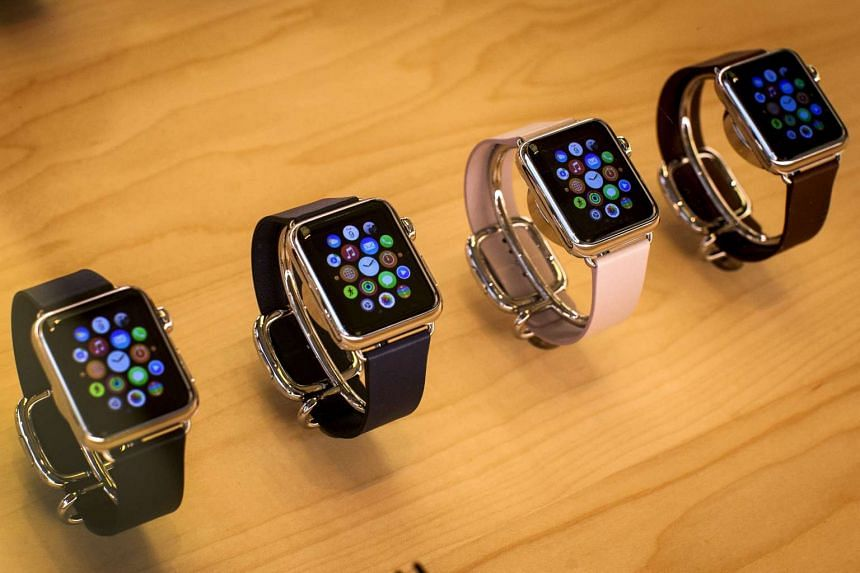 Apple Watches are seen on display at the Apple store on 5th Avenue in the Manhattan borough of New York City.