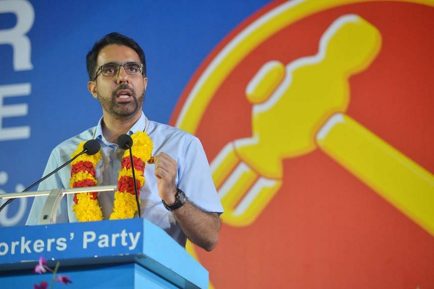 Mr Pritam Singh speaks at the Workers' Party rally for Aljunied GRC at the Serangoon Stadium on Sept 8, 2015.