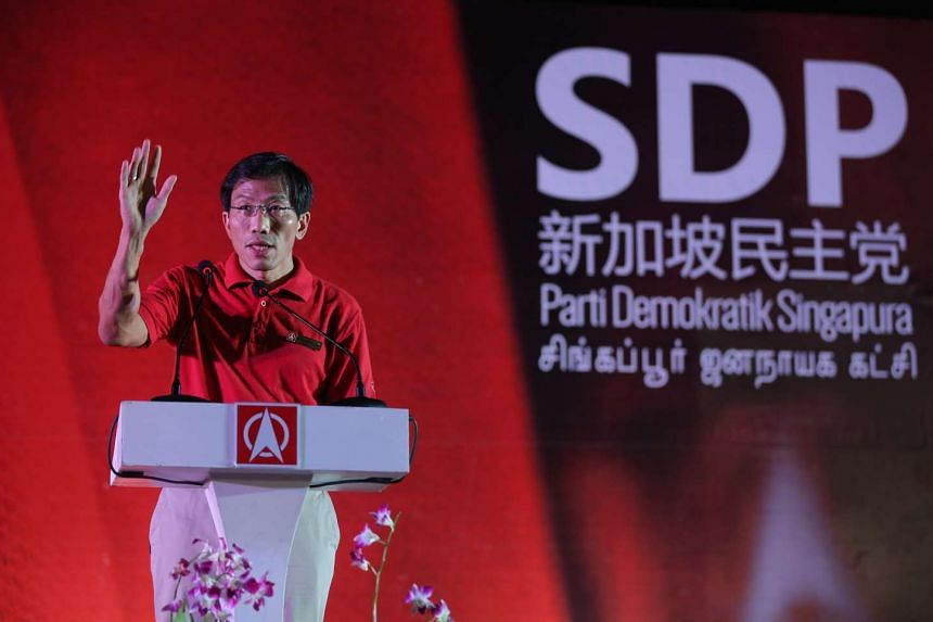 Dr Chee Soon Juan at the SDP rally for Bukit Batok SMC held at the field in front of Blk 265 Toh Guan Road.