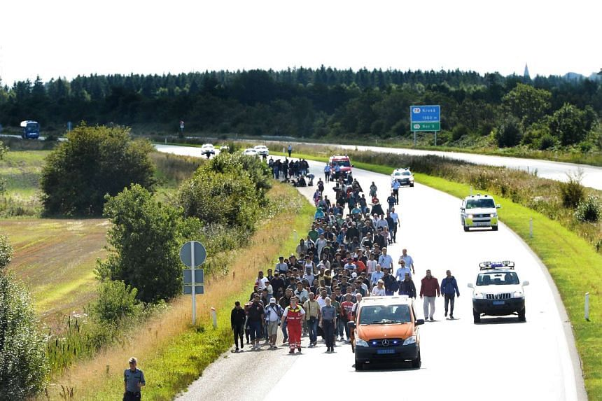 Migrants walk on the E45 freeway at Padborg, while trying to head to Sweden Sept 9, 2015.