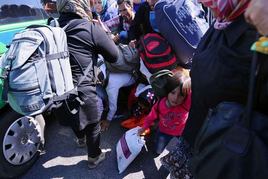 A migrant father (centre) protecting his child laying under him as migrants break through the police line near a collection point at Roszke village at the Hungarian-Serbian border on Sept 9, 2015.
