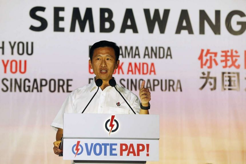 Mr Ong Ye Kung, People's Action Party's (PAP) candidate for Sembawang GRC, speaking at PAP rally at the field opposite Block 540 Woodlands Drive 16 on September 7, 2015.