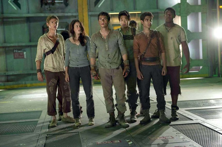 (From left) Thomas Brodie-Sangster, Kaya Scodelario, Dylan O'Brien, Lee Ki Hong, Alexander Flores and Dexter Darden in Maze Runner: The Scorch Trials.