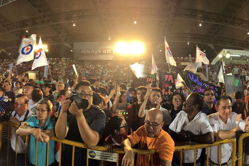 The crowd at the PAP rally for Nee Soon GRC in Yishun Stadium last night.
