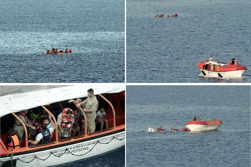 Clockwise from top far left: Migrants trying to stay on their sinking dinghy in waters off the Greek island of Lesbos on Monday; a lifeboat from a Greek passenger ferry speeds to the rescue; some of the survivors being taken to the island.