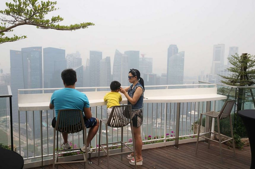 The skyline in a haze at, with the air quality deteriorating to unhealthy levels on Sept 10, 2015 at around 11am.