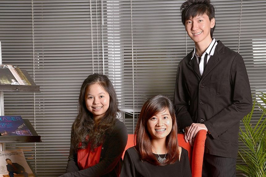 On the university fast track are (from left) Ms May Lim from NTU and Ms Ang Cheng Ning from NUS, while Mr Shawn Foo graduated with a master's from King's College London on top of his NUS bachelor's degree.