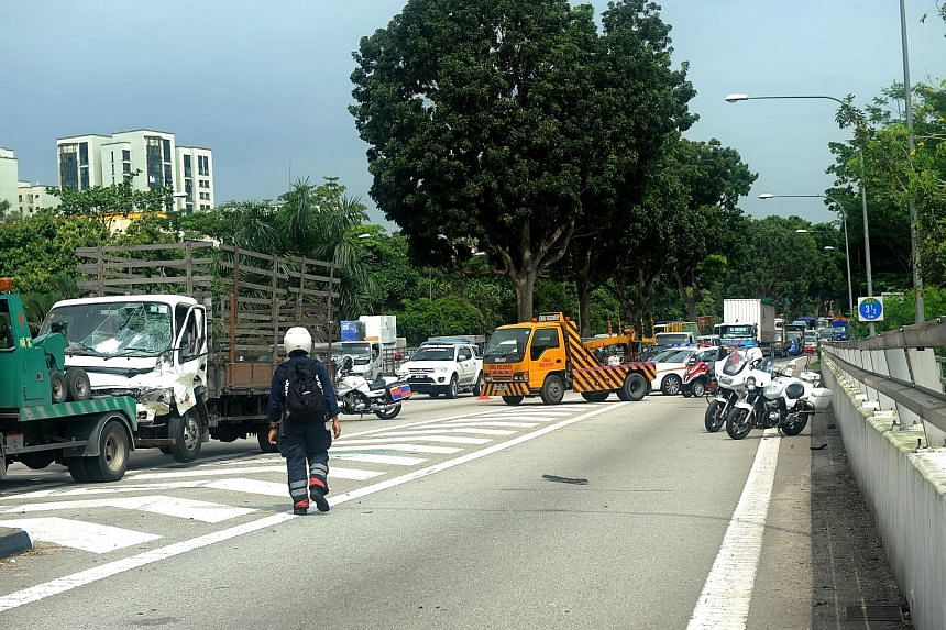 A lorry driven by Ng Leng Seng (above) crashed into a van, which then hit two men and a car on the Bukit Timah Expressway (left).