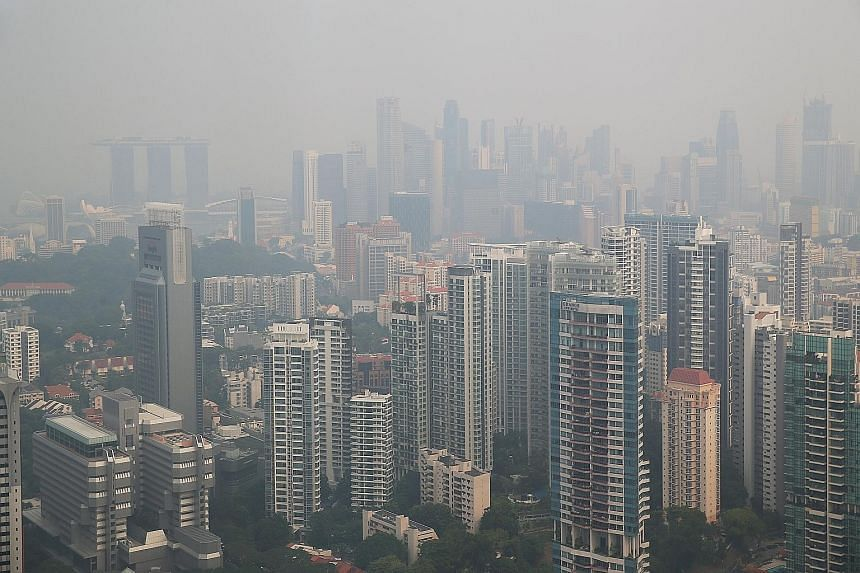 The haze in Singapore as seen on Tuesday. The current haze episode is the first to occur after a range of major measures were undertaken in recent years by both the Indonesian and Singaporean governments.